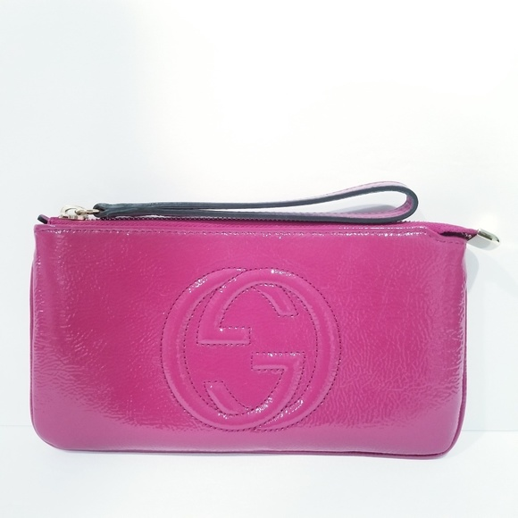 Gucci Handbags - Gucci Soho Soft Patent Leather Wallet Clutch Pink